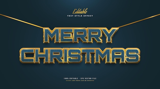 Merry christmas-tekst in luxe blauw en goud met textuur en 3d-effect. bewerkbaar tekststijleffect