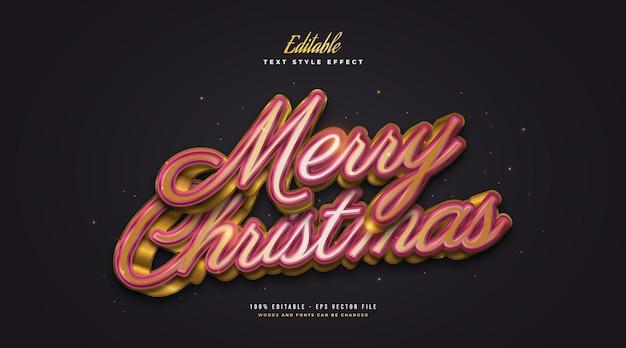Merry christmas-tekst in luxe rood en goud met 3d-effect. bewerkbaar tekststijleffect