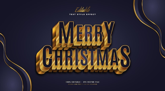 Merry christmas-tekst in luxueus blauw en goud met 3d-reliëfeffect. bewerkbaar tekststijleffect