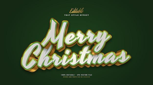 Merry christmas-tekst in luxueus wit, groen en goud met 3d-effect. bewerkbaar tekststijleffect