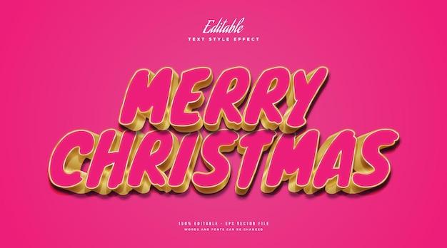 Merry christmas-tekst in roze en gouden stijl met 3d-effect. bewerkbaar tekststijleffect
