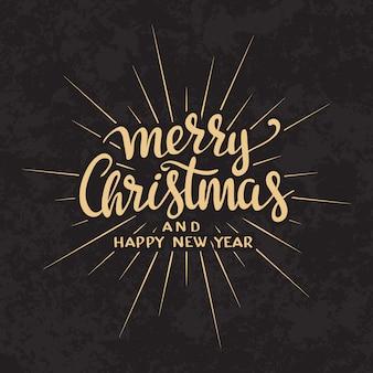 Merry christmas tekst kalligrafische belettering ontwerp kaartsjabloon.