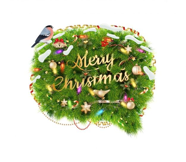 Merry christmas tekstballon, geïsoleerd op een witte achtergrond.