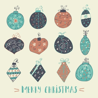 Merry christmas-tekstlabel met kerstballen. wenskaartsjabloon. vrolijke kerstaffiche met citaat. t-shirtontwerp, kaartontwerp of huisdecorelement. vector typografie