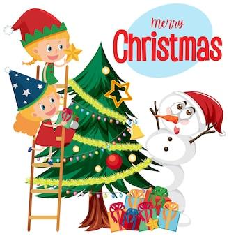 Merry christmas-tekstlogo met kerstmis en decoraties