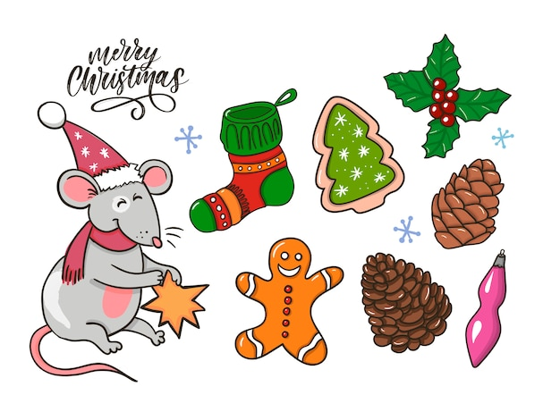 Merry christmas traditionele decoratie in doodle stijl