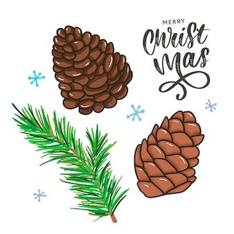Merry christmas traditionele symbolen in doodle stijl geïsoleerd op wit