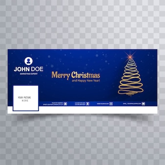 Merry christmas tree met facebook cover banner sjabloon