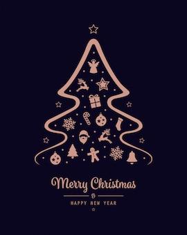 Merry christmas tree pictogram rose gouden elementen achtergrond