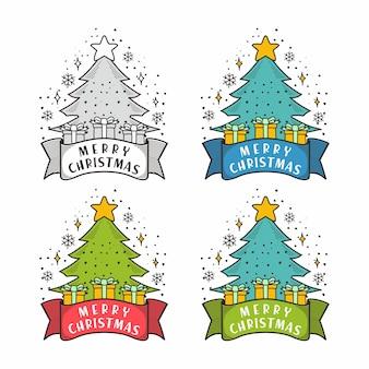 Merry christmas tree pine groet geschenk