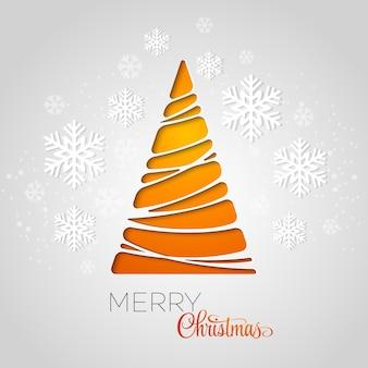 Merry christmas tree wenskaart. papieren ontwerp. illustratie.