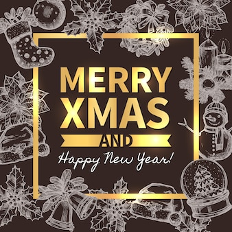Merry christmas trendy wenskaart, poster of achtergrond met typografie en schets xmas feestelijke elementen op bord