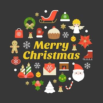 Merry christmas typografie lettertype en elementen op zwarte achtergrond