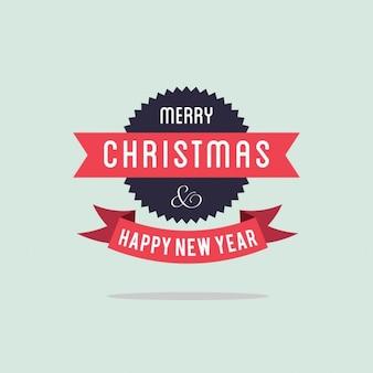 Merry christmas typografie op vlakke achtergrond