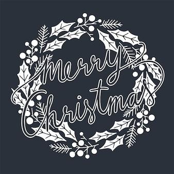 Merry christmas typografisch op kerstkrans.