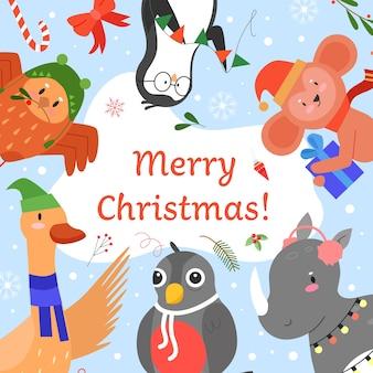 Merry christmas uitnodiging vectorillustratie, cartoon plat schattige dieren groet, samen vieren van happy christmas party-evenement