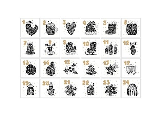 Merry christmas vector advent scandinavische kalender met hand getrokken winter nordic elementen vogel, mok hart hoed boot, cadeau bell herten kaarsen, bal ster sneeuwpop huis