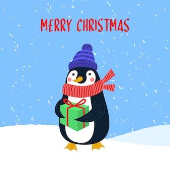 Merry christmas vector kaart met schattige pinguïn