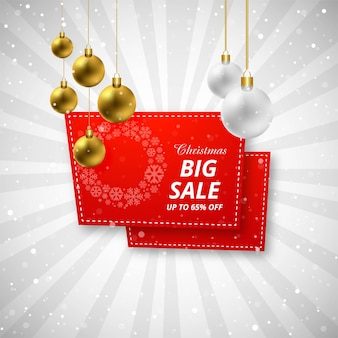 Merry christmas verkoop achtergrond met kerst bal ontwerp vector