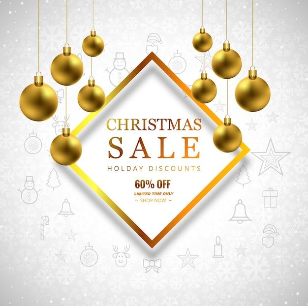 Merry christmas verkoop achtergrond met kerstmis bal ontwerp