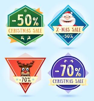 Merry christmas verkoop badges. vector illustratie.