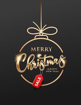 Merry christmas-verkoop gouden cirkel met rood etiket