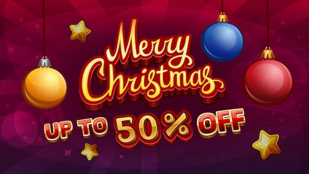 Merry christmas-verkoop met kerstballen
