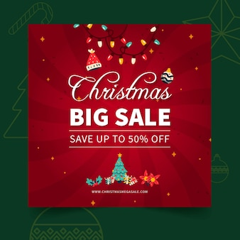 Merry christmas verkoop vierkante flyer-sjabloon
