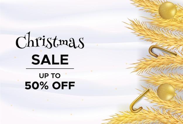 Merry christmas-verkoopsjabloon op witte golfachtergrond