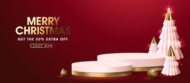 Merry christmas-verkoopsjabloon voor spandoek met productvertoning podium