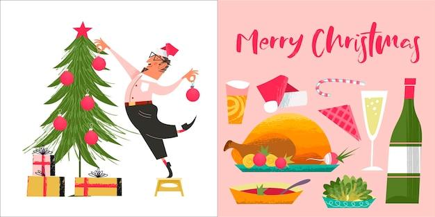 Merry christmas vrolijke wenskaart set van vector decoraties voor kerstboom