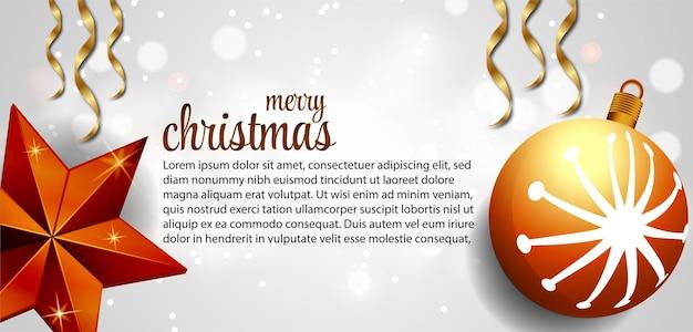 Merry christmas webbanner met vakantie belettering traditionele elementen achtergrond premium vector