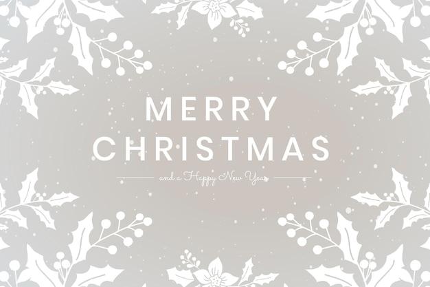 Merry christmas wens grijze bloemen wenskaart