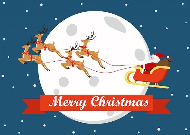Merry christmas wenskaart decoratie met schattige cartoon
