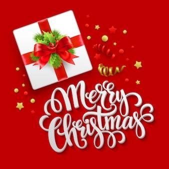 Merry christmas wenskaart, doos van de gift van kerstmis, wenskaart.