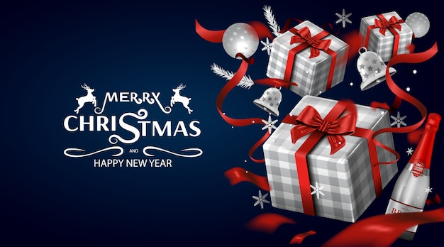 Merry christmas wenskaart en feest uitnodigingen luxe achtergrond