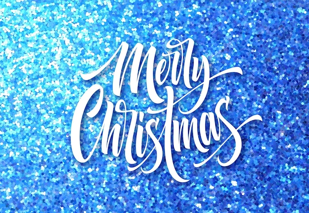 Merry christmas wenskaart glitter vector sjabloon. sprankelende textuur. xmas hand belettering met blauwe glitter. merry christmas kalligrafische letters en sparkle confetti effect. poster, spandoekontwerp