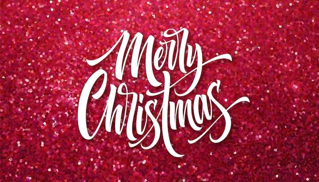 Merry christmas wenskaart glitter vector sjabloon. sprankelende textuur. xmas hand belettering met roze glitter. merry christmas kalligrafische letters en sparkle confetti effect. poster, spandoekontwerp