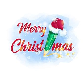 Merry christmas wenskaart. groen potlood in een hoed van de kerstman