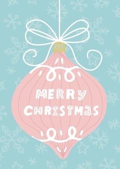 Merry christmas-wenskaart: grote kerstbal met tekst merry christmas.