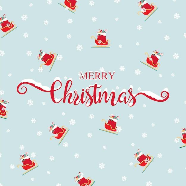 Merry christmas wenskaart handgeschreven belettering santa claus slee pictogram xmas schattig patroon