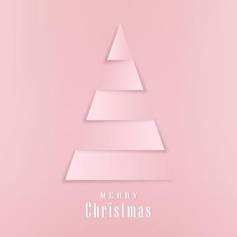 Merry christmas wenskaart in papier gesneden stijl