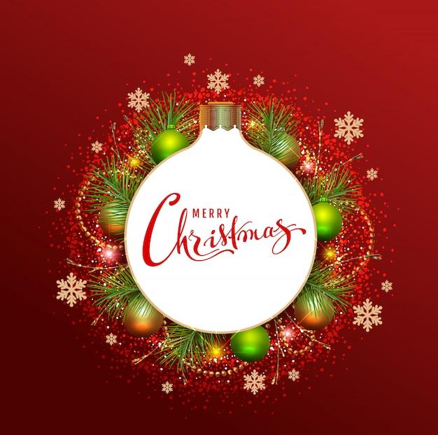 Merry christmas wenskaart krans van fir takken