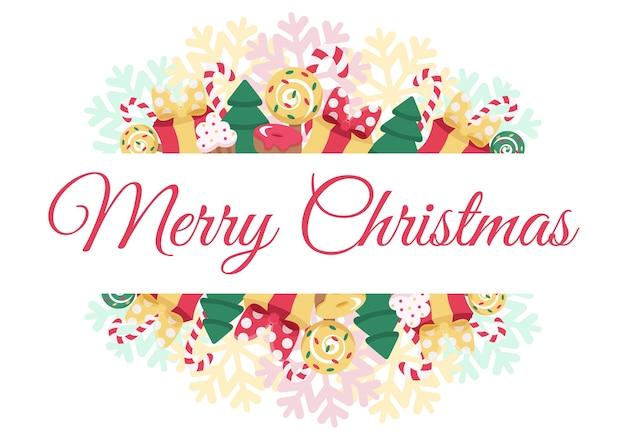Merry christmas wenskaart. leuke pastelkleurkaart met dennenboom, cadeautjes, snoep en sneeuwvlok