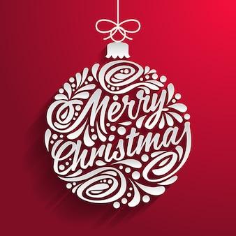 Merry christmas wenskaart met abstracte doodle kerstbal.