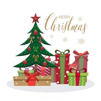 Merry christmas wenskaart met boom en geschenkdozen