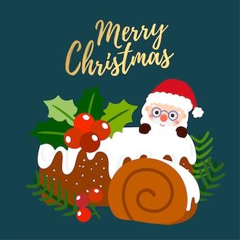 Merry christmas wenskaart met chocolade christmas log.