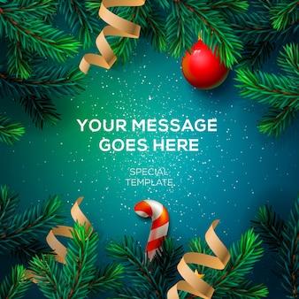 Merry christmas wenskaart met chrirstmas decor fir twijgen en confetti,