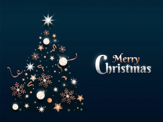 Merry christmas wenskaart met creatieve kerstboom gemaakt door sterren, kerstballen en sneeuwvlokken op groen.