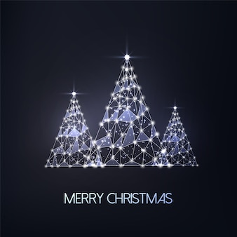 Merry christmas wenskaart met drie futuristische gloeiende lage veelhoekige bomen op zwarte achtergrond. modern gaasontwerp met draadframe.